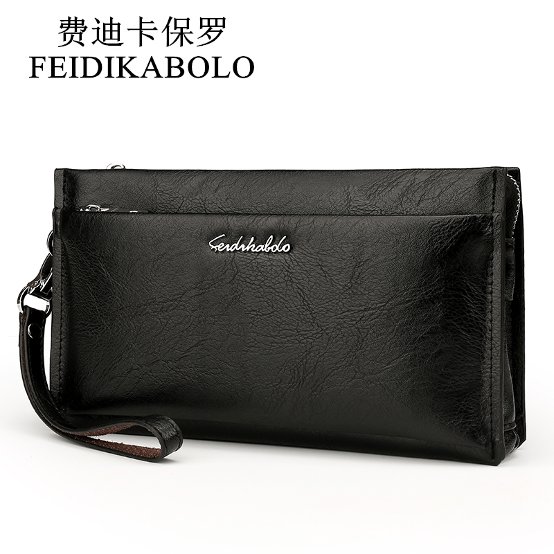 FEIDIKABOLO Brand Zipper Men Wallets with Phone Bag  PU Leather Clutch Wallet Large Capacity Casual Long Business Men's Wallets top brand genuine leather wallets for men women large capacity zipper clutch purses cell phone passport card holders notecase
