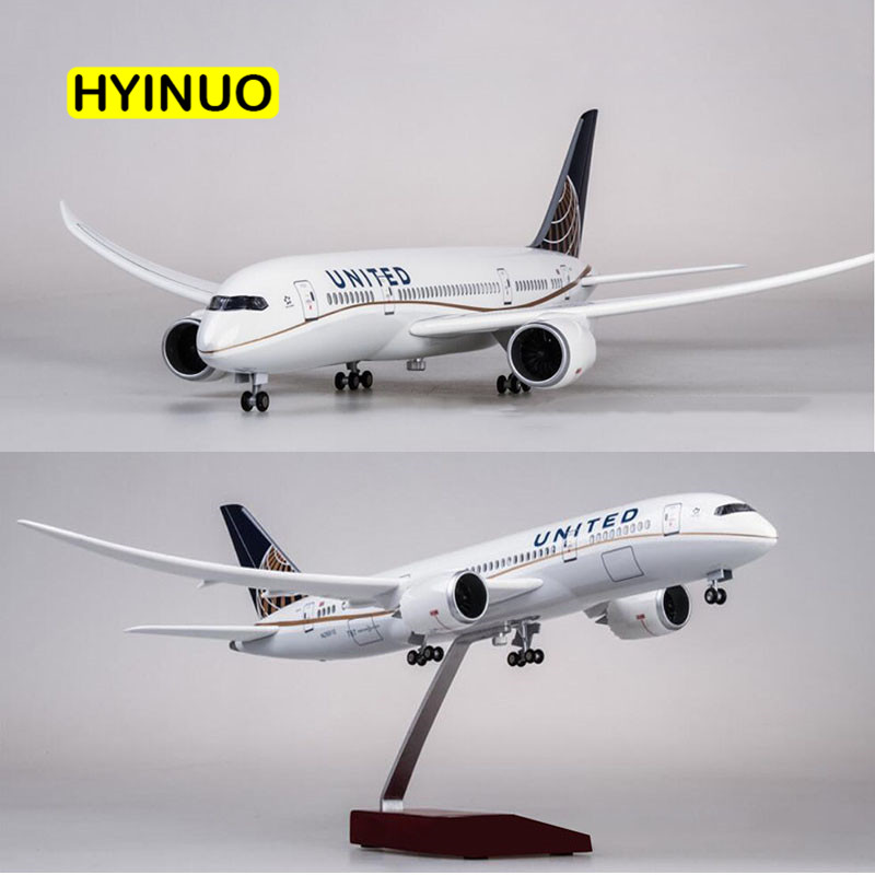 1 130 Scale 43cm Airplane Boeing B787 Dreamliner Aircraft American United Airlines Model Light Wheel Diecast