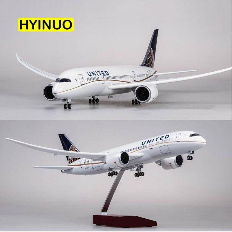 1/130 échelle 43 cm avion Boeing B787 Dreamliner avion américain United Airlines modèle léger roue moulé sous pression en plastique résine avion