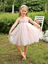Ball Gown Tulle knee length flower girl dresses with pearl girls kids outdoor casual dress Pageant