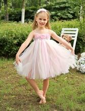 Бальное платье Тюль длиной до колена детские платья с жемчугом девочки дети открытый вскользь платья Pageant платья