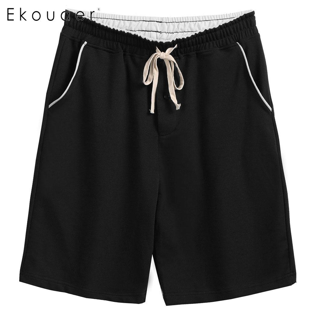 Ekouaer Mens Casual Sleep Shorts Drawstring Waist Patchwork Pockets Loose Sleepwear Short Pant Underwear Pajama Sexy Nightwear Sleep Bottoms