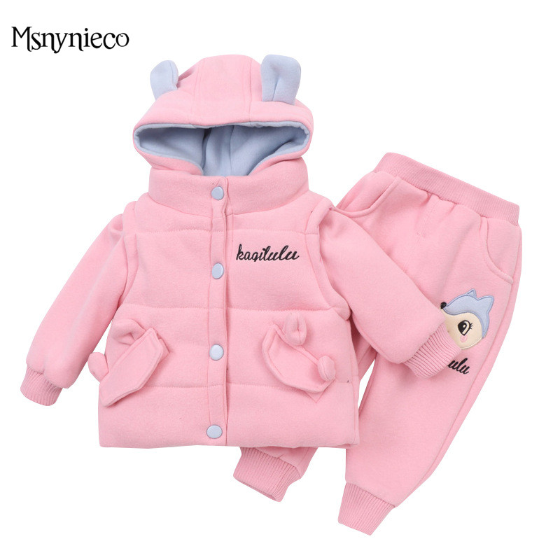 High Qulity Winter Baby Girl Clothing Sets Suit 2017 Fashion Toddler Clothes Kids Cartoon Long Sleeve Warm Infant Clothing 3Pcs fashion cartoon baby boy girl clothing sets winter warm fleece newborn coat pants 2pc suit long sleeve infant kids clothes set