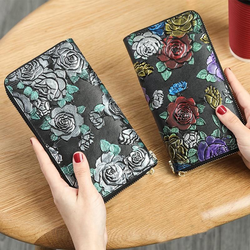 Купить с кэшбэком Genuine Leather Women Wallet 3D Rose luxury designer wallets high quality female Purse  portfel damski genuine leather wallet