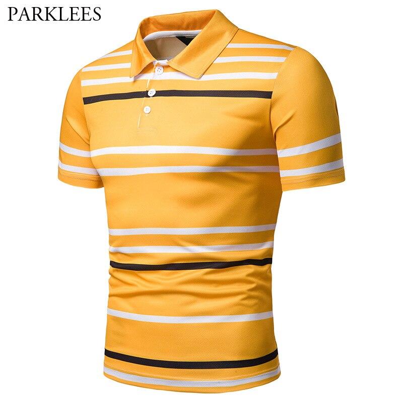 Nett Gestreiften Polo-shirt Männer 2019 Sommer Neue Drehen Unten Kragen Kurzarm Polo Shirts Männer Business Casual Atmungs Polo Homme Xxl Buy One Give One