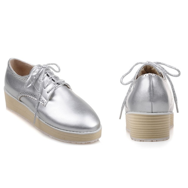 2016 Size 34-43 Fashion Ladies Pu Leather Women Pumps Dress Shoes silver white wedges Heel Shoes Women's Wedding Shoes