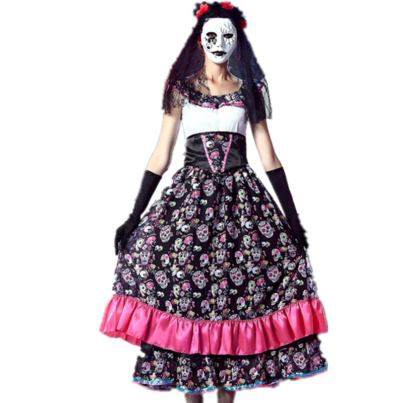 Day Of The Dead Spanish Lady Girls Costume Ghost Bride Skull Print