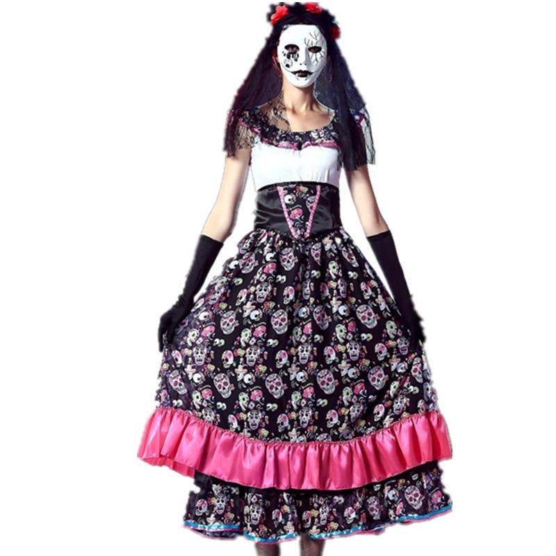 da de los muertos espaol seora girls traje de novia fantasma crneo imprimir vestido t