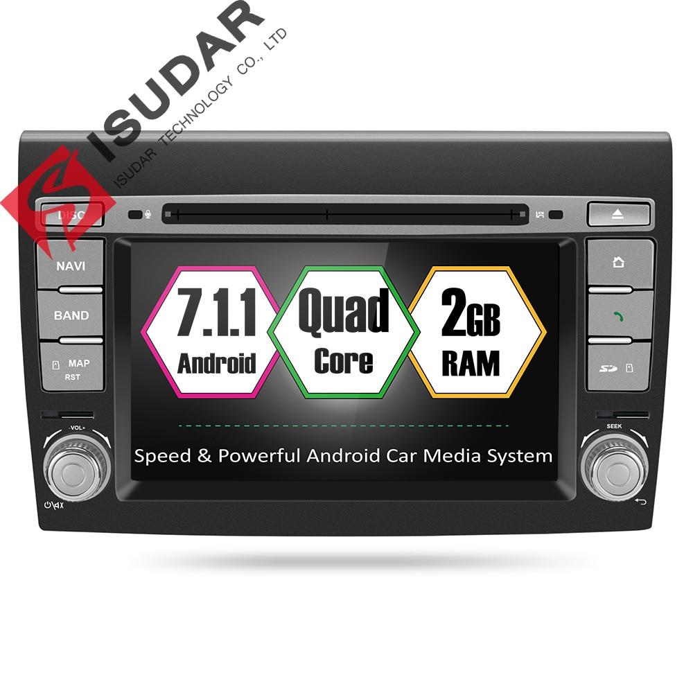 Isudar Car Multimedia player Android 7.1.1 GPS 2 Din DVD Automotivo For Fiat/Bravo 2007 2008 2009 2010 2011 2012 Radio 2 GB RAM фаркоп aragon fiat bravo 2007 lancia delta 2008