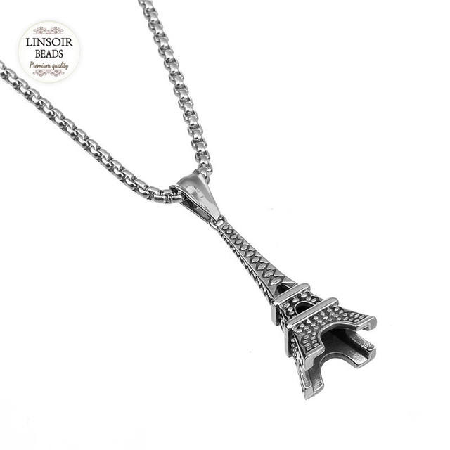 Linsoir stainless steel eiffel tower necklace silver tone 55cm linsoir stainless steel eiffel tower necklace silver tone 55cm length chain tower pendant paris necklace for aloadofball Images