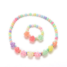 Lovely Kids Necklaces Bracelet Multicolor Candy Beaded Bubblegum Necklace Rose Shaped Baby Girl Party Jewelry(China)
