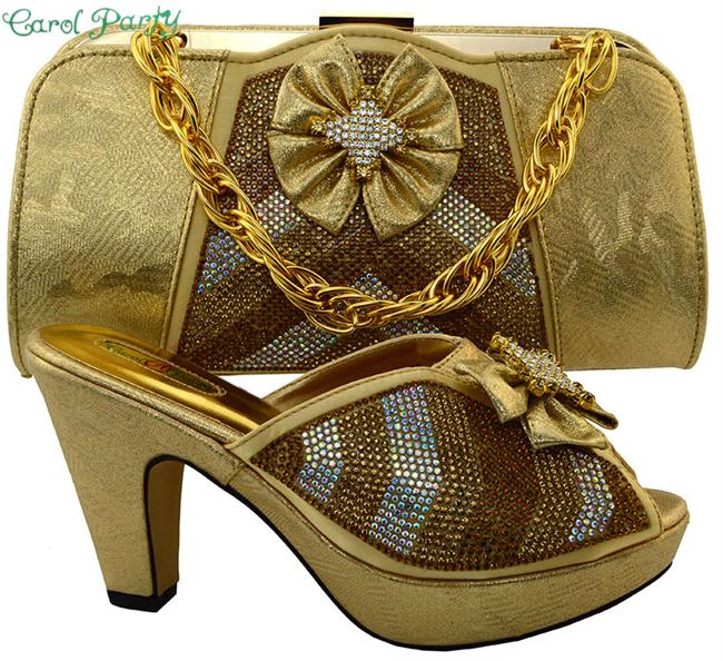 Gold Ladies Shoe Bag Set Women Shoe and Bag To Match Women Shoe and Bag To Match for Parties Ladies Shoe Bag Set MM1028 doershow shoe and bag to match italian african shoe and bag set african shoe and bag to match for parties matching shoes bch1 66