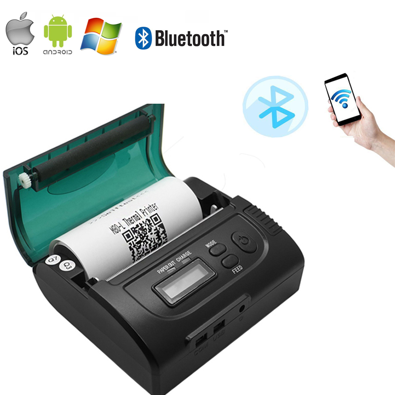Mini Wireless 80mm Portable Bluetooth Thermal Printer Receipt for  IOS/Android Mobile and Windows goojprt mtp ii 58mm bluetooth thermal printer portable rechargeable wireless receipt machine for windows android ios 80mm s