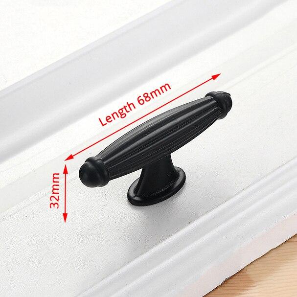 KAK американский стиль черный шкаф ручки цельный алюминиевый сплав кухонный шкаф ручки для выдвижных ящиков оборудование для обработки мебели - Цвет: Handle-8831C