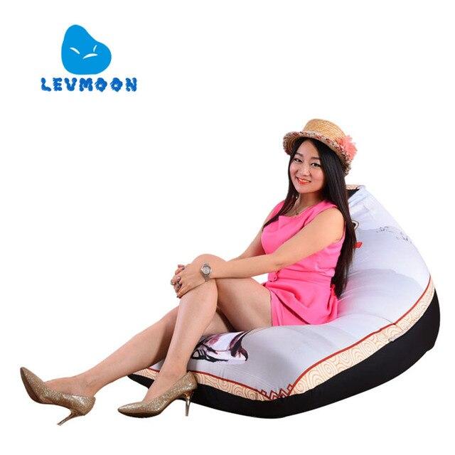 LEVMOON Beanbag Assento Do Sofá Impressão Zhi Zac Conforto Tampa Sem o Preenchimento do Saco de Feijão Cama 100% Algodão Interior Beanbags Cadeira de Salão