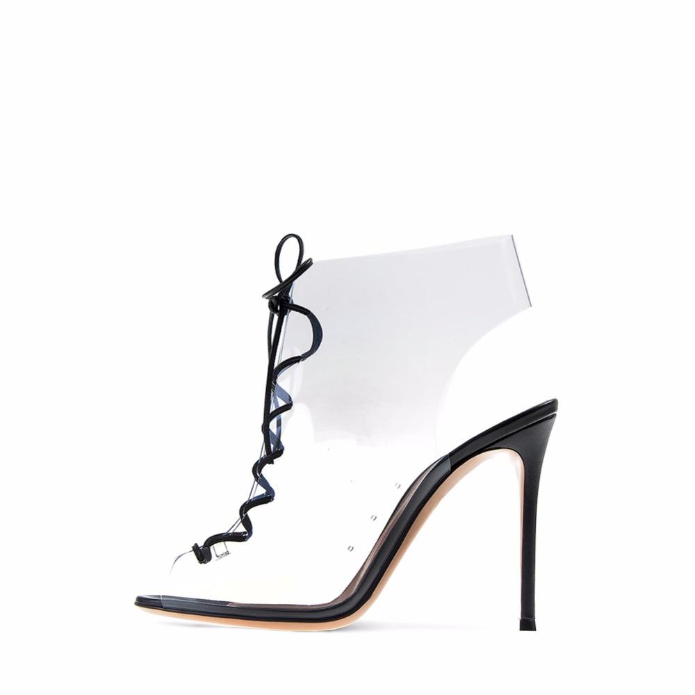Schuhe Stilett handel Party Lace Sommer Sandalen Handgefertigte spitze Transparent Pvc Heel High Abendkleid Frauen Gro Up Offene HIWEDY92
