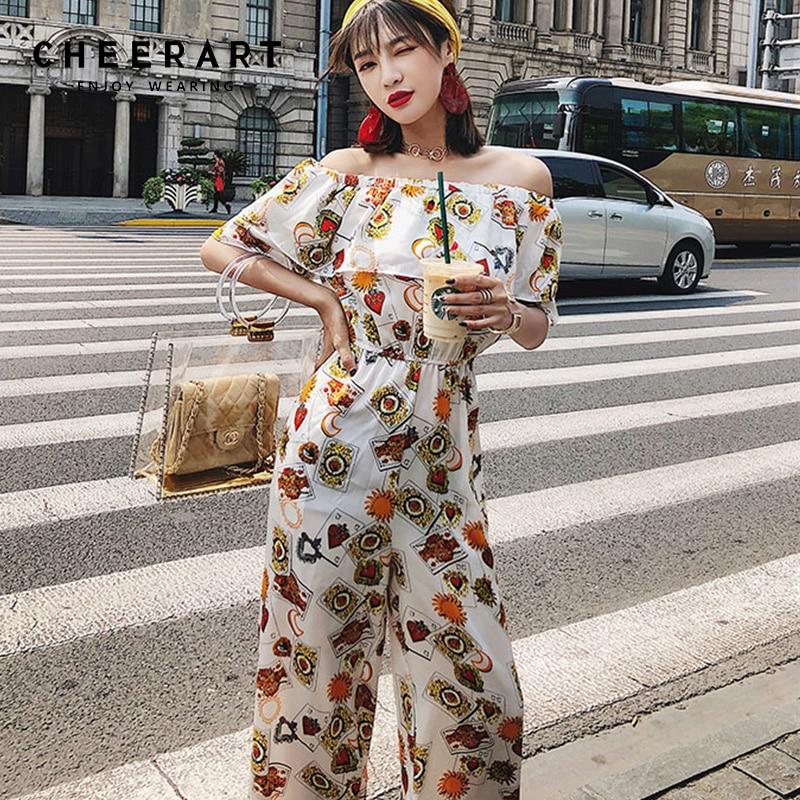 Cheerart M-4XL Plus Size Chiffon Strapless Jumpsuits For Women Summer Floral Print Loose Overalls Combinaison Femme