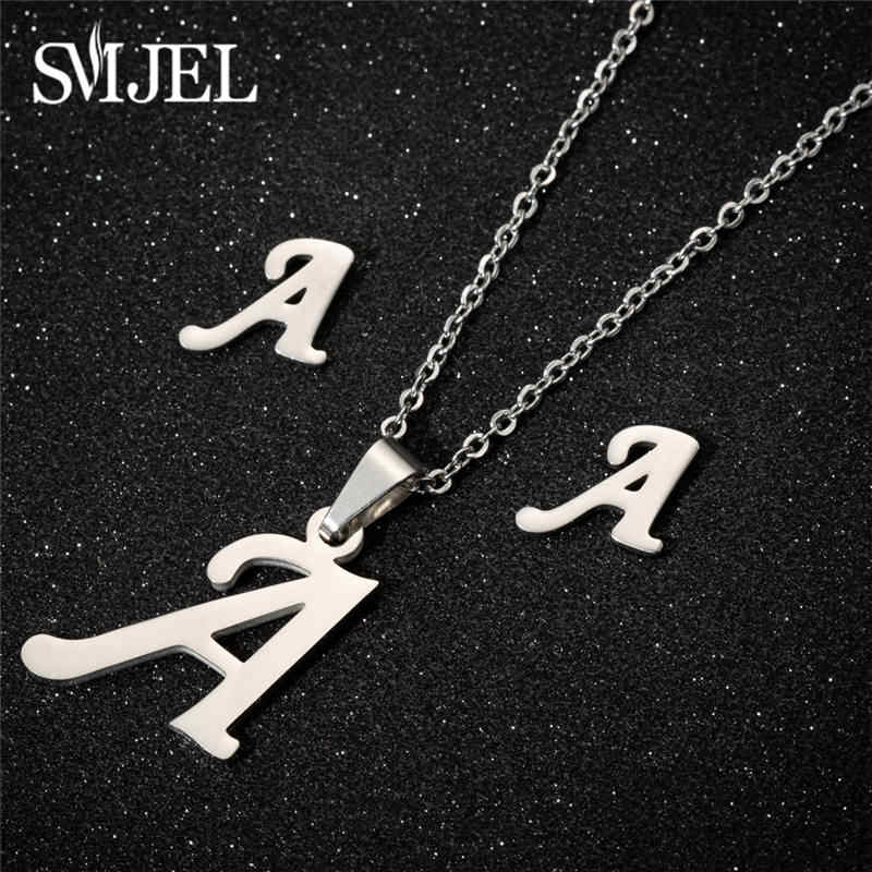 SMJEL Mini Initial Letters Necklace Women Steel Sliver Chain A-Z 26 Words Statement Necklaces Pendants Necklace Collier Femme