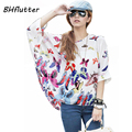 Blusas Summer Tops Plus Size Women Clothing 2017 New Style Batwing Sleeve Women Blouses Floral Print Women's Chiffon Shirts
