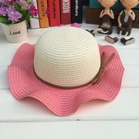 1 Pcs 2017 Fashiob Double Color Falbala Children Sun Hats Spring Summer Girl Straw Brand Hats size 53cm 5 colors 8541