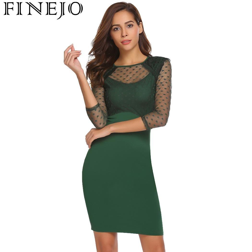 Finejo Mesh Patchwork Moulante Mince Crayon Sexy Robe De Mode O-cou 3/4 Manches Pull Mini Nouveau Robes Roupas Femininas