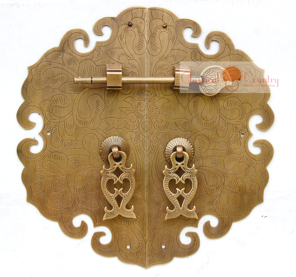 Antique Furniture Brass Hardware Cabinet Face Plate Copper Pull Handle With Locking Pin 19cm (7