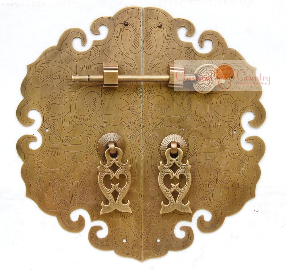 Antique furniture brass hardware cabinet face plate copper for Asian furniture hardware drawer pulls