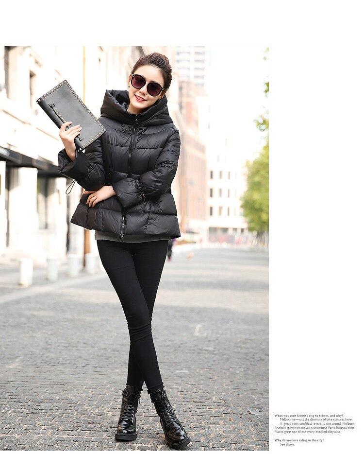 Новые короткие пуховое пальто стильный с капюшоном женские зимние куртки большой Размеры черный, красный мода 2018 горячая распродажа