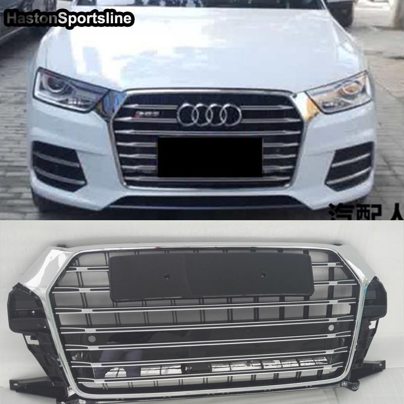 Pour Audi Q3 modifié SQ3 Style capot avant Grille centrale calandre voiture Style 2016 2017 2018 2019 Chrome emblème