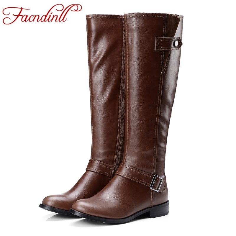 Plus size 34-43 pu leather shoes woman boots buckle zip square heels autumn winter women knee high boots ladies platform shoes