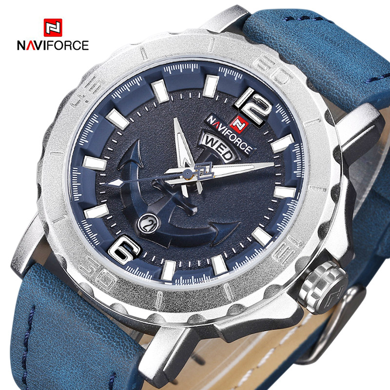 NAVIFORCE Mens Sport Watch Luxury Brand Men Leather Waterproof Analog Quartz Clock Fashion Casual Wristwatches Relogio