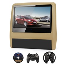 9Inch Beige Black TFT Touch Screen Car Headrest Monitor CD DVD Player 720P/IR/SD/Speaker car pillow decor+Headphone