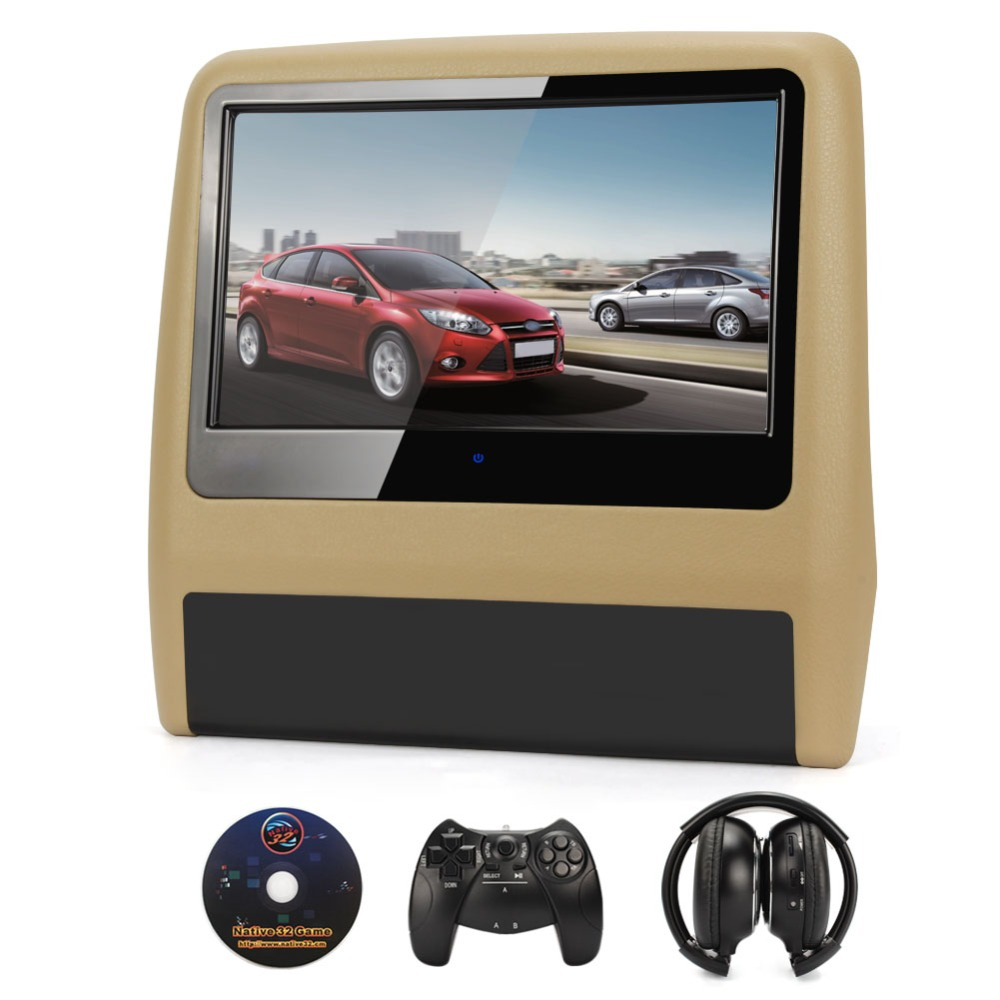 9inch beige black tft touch screen car headrest monitor cd dvd player 720p ir