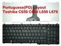 Original novo português/po teclado do laptop de substituição para toshiba satellite c650 c660 l650 l670 teclado notebook preto