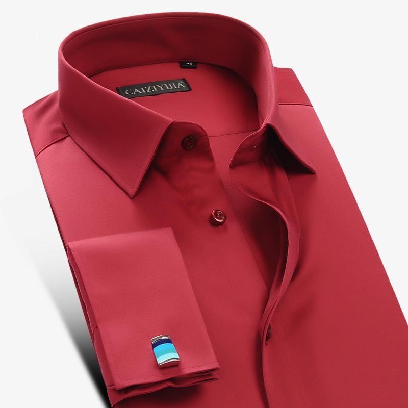 Long sleeve men dress shirt french cuff male fashion for French cut shirt sleeve