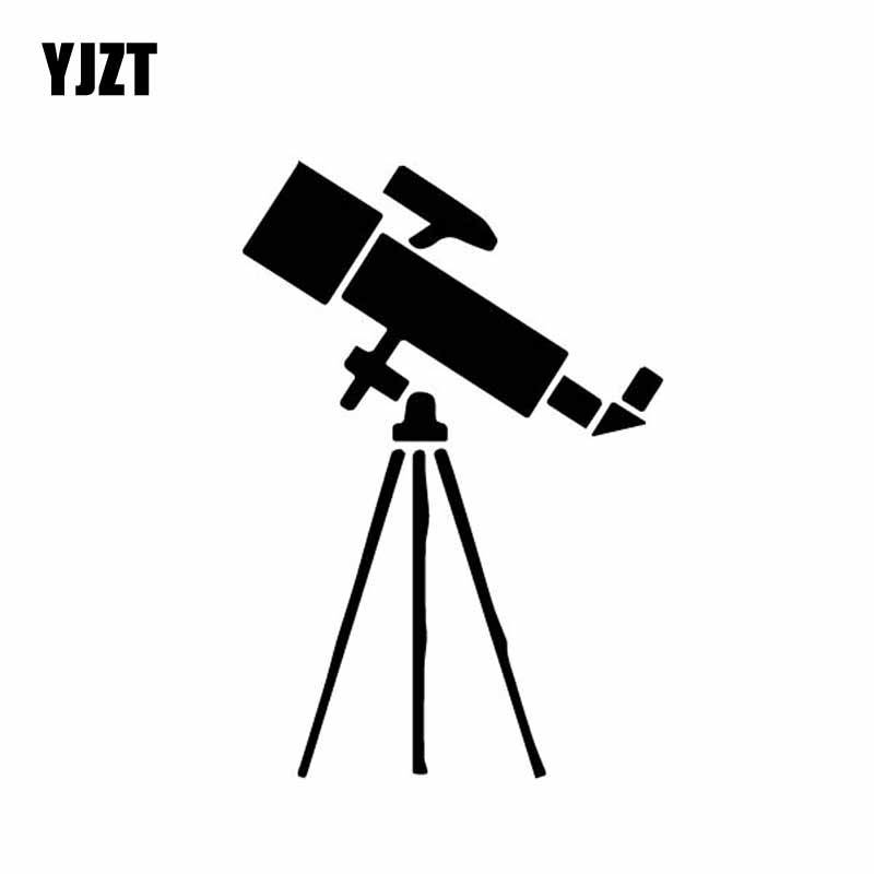 YJZT 10CM*14.7CM Laboratory Display Telescope Astronomy Vinly Decal Car Sticker Cartoon Simplicity Black/Silver C27-0325