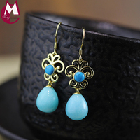 Water Drop Amazonite Gold Color Hollow Design Round Turquoise Wedding Gemstone Jewelry 925 Sterling Silver Earrings
