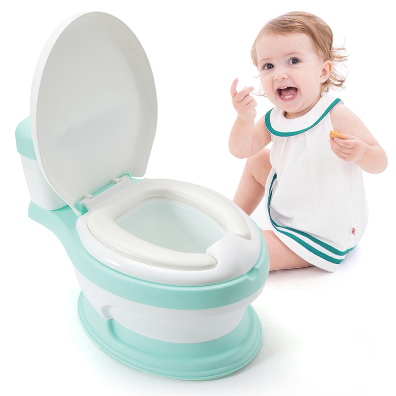 Latest simulation baby plastic toilet potty training seat with cover for free potty brush+cleaning bag
