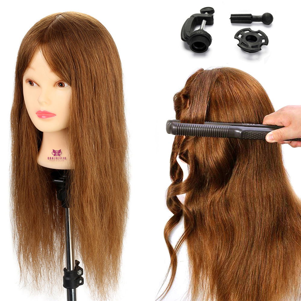 "20"" Brown 100% Real Animal Hair hairdressing dolls head Professional Female Mannequin Hair Styling Training Head Mannequin Head"
