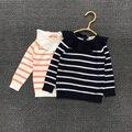 Primavera e no outono novo estilo do bebê meninas listrado camisola das crianças camisola de malha crianças crianças camisola bonito camisola fina