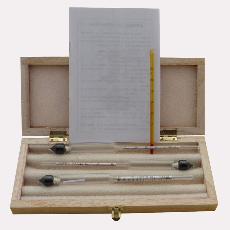 Alcoholmeter Concentration Instrument Meter Vodka Whiskey Alcohol Wine Hydrometer Meter In Wooden Box (0-40%, 30-70%, 70-100%)
