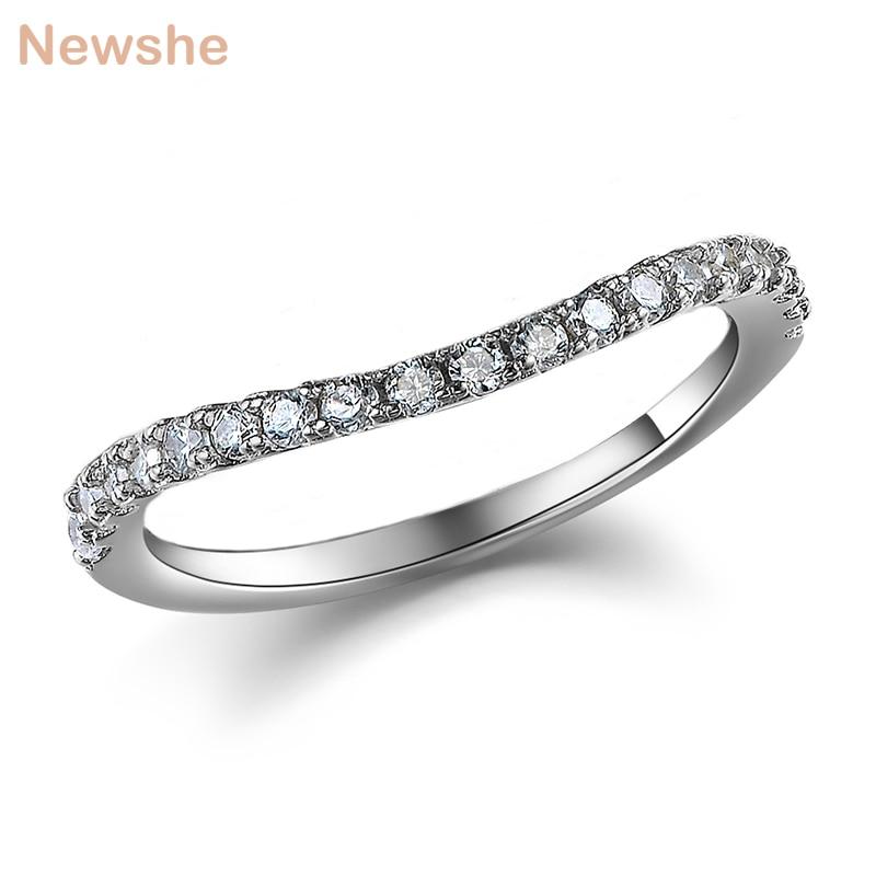 Newshe 925 de plata esterlina boda anillo de compromiso para las mujeres JR5243B onda curva diseño banda