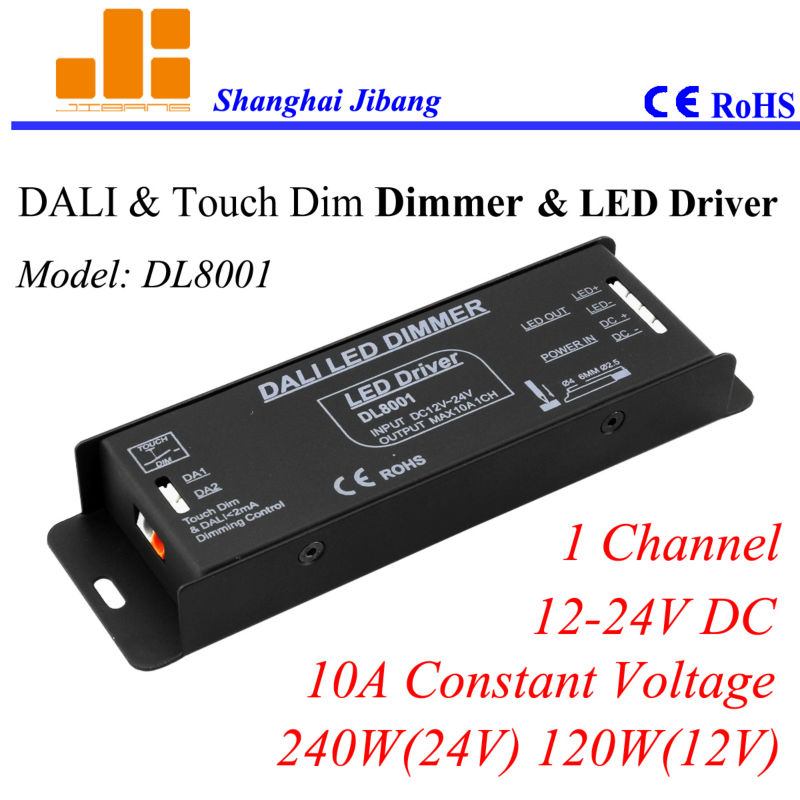 Free Shipping DALI driver, Dimmable DALI controller, DALI LED dimmer, Constant Voltage 1channel/12V-24V/10A/240W pn:DL8001 dali signal led dimmer 350ma fluorescent constant current high voltage ac110 240 led dali dimming controller