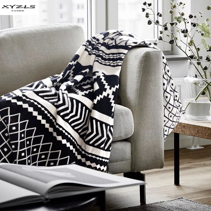 Nordic Cotton Blanket Black White Geometric Knitted Throw Blankets For Bed Sofa Cover Soft Home Travel Knit Blanket 130x180cm Blankets Aliexpress