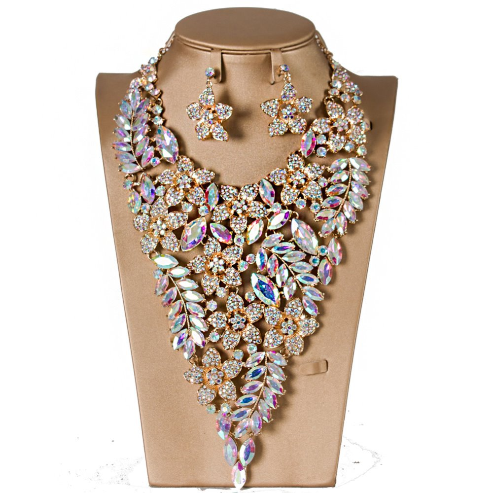 Bridal Jewelry Sets Crystal Rhinestone Flower Rhinestone Wedding Gold Color Necklace and Earirngs Sets for Women Jewelry Sets viennois new blue crystal fashion rhinestone pendant earrings ring bracelet and long necklace sets for women jewelry sets