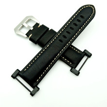Black For Suunto Core band Genuine Leather strap With Stainless Steel Clasp + Adapter +2Pcs Tool stainless steel silver pvd black adapter for suunto core watches used to install the rubber nylon suunto core watchband