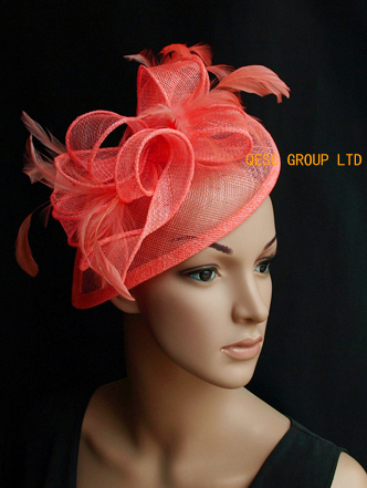 Coral pink Bridal Sinamay feather fascinator for Derby 69d19202446