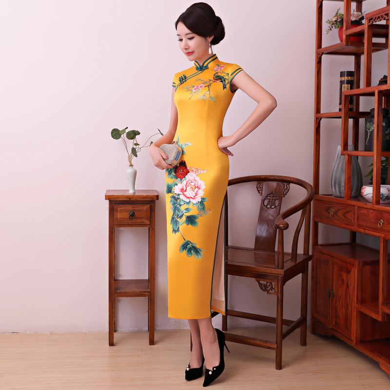 Oriental Vintage Print Flower Chinese Dress Traditional Female Cheongsam Elegant Party Evening Gowns Noble Yellow Satin Qipao