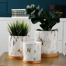 Керамическая мраморная текстура в скандинавском стиле цилиндрической формы цветочный горшок для дома креативная мебель для рабочего стола Художественный Цветочный Горшок