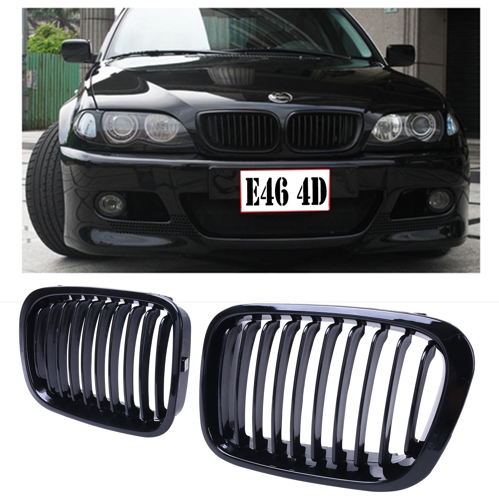 2x gloss black front kidney grills grille fit bmw for bmw e46 sedan 320i 325i 325xi